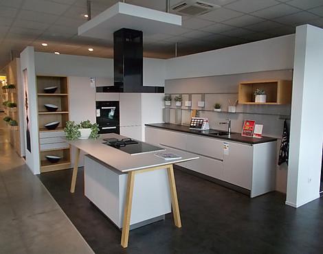Moderne Grifflose Satinlack Küche Mit Tischinsel, Miele Geräte,  Inkl.Lieferung Bis 100 Km