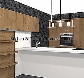 Leicht Orlando In Weiß/Holz Optik. Küche Mit Insel Und Zwei Zeilen Lösung  Mit