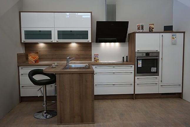 Nobilia-Musterküche T-Küche 400 cm x 190 cm mit Lackfronten in ...