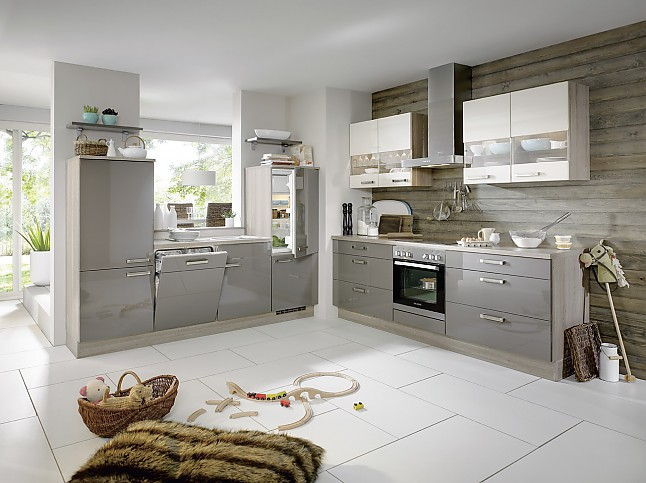 Natural Calico Gloss Kitchen Cupboards
