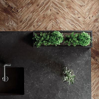 Küchenarbeitsplatte in der dunklen Silestone Farbe Corktown