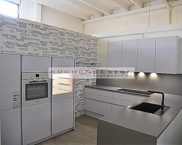 Goldreif-Musterküche Goldreif L-Modul Küche in Arktis Color weiß mit ...