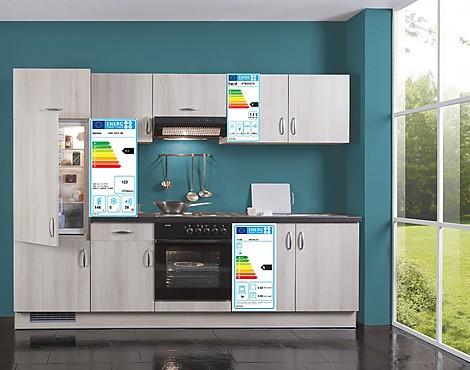 Funktionelle Küchenzeile   Malta Ideal Akazie Inkl. Elektrogeräte O.  Geschirrspüler