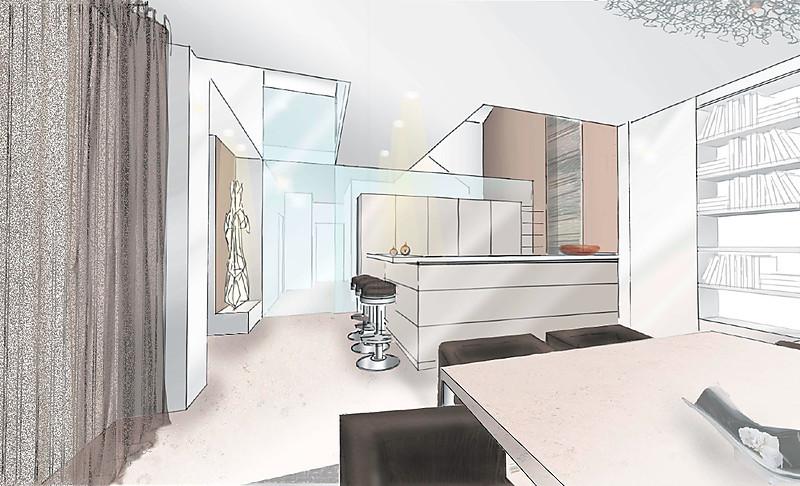 Stadthaus Offener Wohnbereich Mit Küche