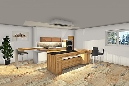 3D Ansicht - moderne Pfisterküche aus Holz
