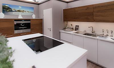 Moderne Inselküche mit Fronten in Weiß und aus Holz