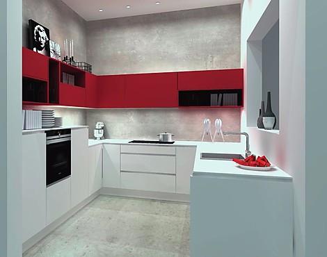 Einbauküche lack weiß softmatt rothochglanz u form küche nolte ausstellungsküchen bis zu 70 preiswerter