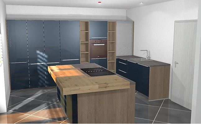 Artego ECO Blaue L Küche Mit Kochinsel, Hoch Gebautem Backofen Und Theke