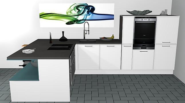 Nolte Musterküche Puristische Küchenzeile mit Arbeitsplattenhaube und offener