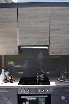 ... Hochglanz mit Rio Holzdekor Moderne graue Hochglanzküche in L-Form