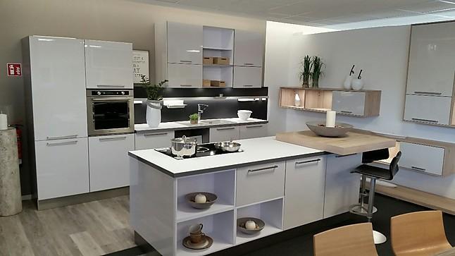 Häcker-Musterküche Küche Cristall Satin, Pultplatte, Glaseinlagen in ...