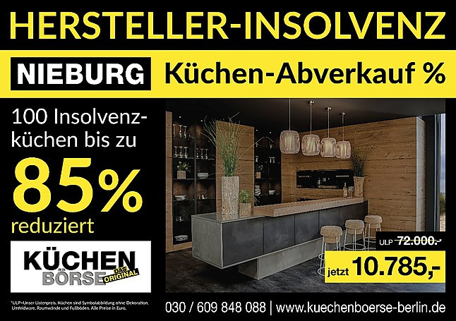 nieburg musterk che nieburg k chen insolvenz abverkauf der insolvenzk chen bis zu 100 k chen. Black Bedroom Furniture Sets. Home Design Ideas