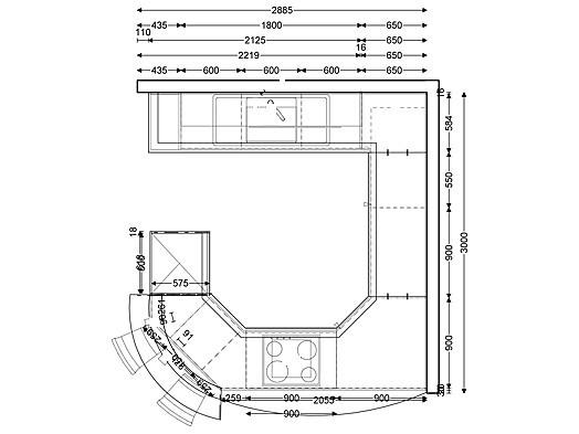Cube-Musterküche Zeitlose Küche mit Thekenlösung zum Sonderpreis ...