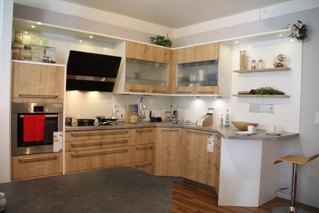 h cker musterk che moderne l k che mit essplatz eiche cornwall mit. Black Bedroom Furniture Sets. Home Design Ideas