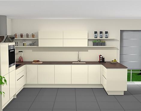 Designküche grifflos inkl hochwertiger ausstattung laser soft magnolie