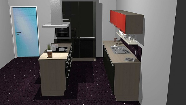 kitchenclick musterk che schwarze inselk che mit hochglanz front ausstellungsk che in memmingen. Black Bedroom Furniture Sets. Home Design Ideas