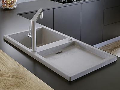 Küchenspüle aus SILGRANIT® in der Farbe Beton-Style