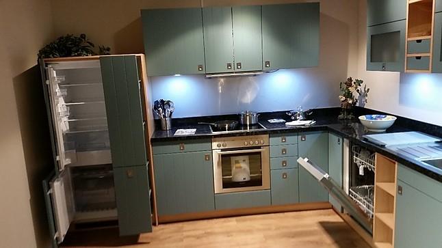 sch ller musterk che moderne landhausk che strukturlack blaugrau ausstellungsk che in. Black Bedroom Furniture Sets. Home Design Ideas