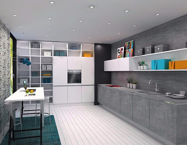 nolte musterk che einbauk che l form k che lack wei softmatt und beton ausstellungsk che in. Black Bedroom Furniture Sets. Home Design Ideas
