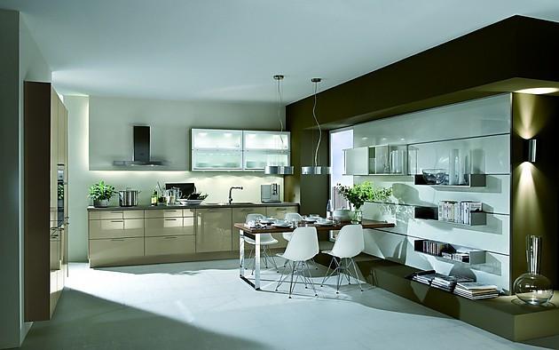 k chenzeile und regalwand in kieselgrau und cappucino. Black Bedroom Furniture Sets. Home Design Ideas