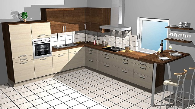 kitchenclick musterk che l k che in holz optik mit theke ausstellungsk che in von. Black Bedroom Furniture Sets. Home Design Ideas