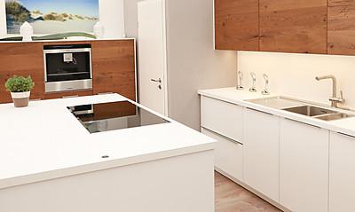Moderne Küche - Weiß kombiniert mit Holz