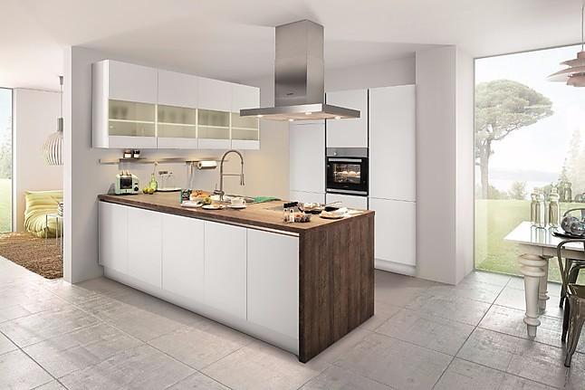 Häcker-Musterküche Lacklaminat weiß matt Küche mit Insel ...