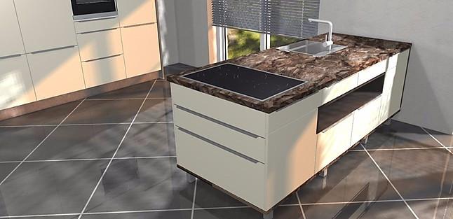 Nobilia-Musterküche Küche m. Hochschrankzeile u. Insel mit Kochfeld ...