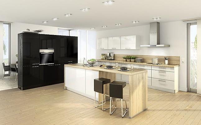 nolte musterk che offene inselk che in lack hochglanz schwarz wei ausstellungsk che in mengen. Black Bedroom Furniture Sets. Home Design Ideas