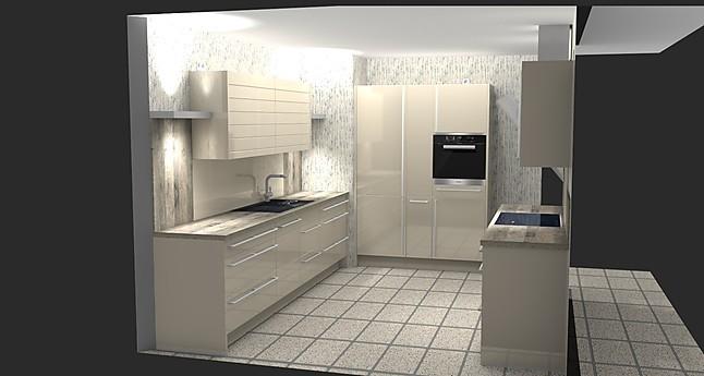 nobilia-musterküche zweizeilige hochglanz (lack) küche mit ... - Küche Zweizeilig