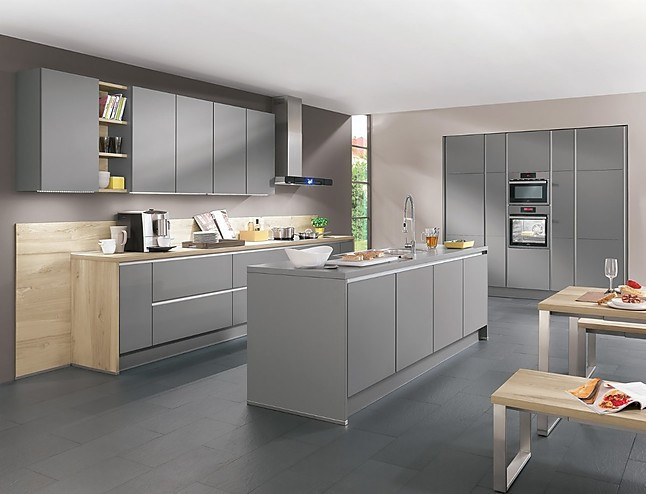 Nobilia-Musterküche Line N - Focus mit Bosch - Grifflose Designküche ...