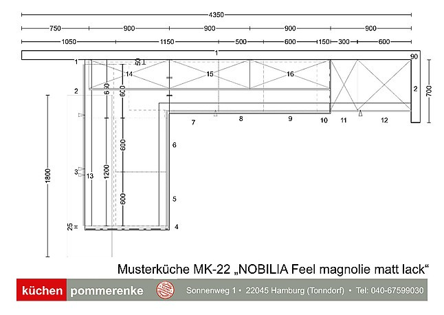 Nobilia-Musterküche NOBILIA Feel magnolia Lack matt (MK-22 ...