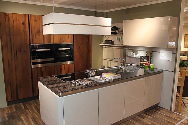 next125 musterk che monderne lackfront in hochglanz kombiniert mit alteiche furnier. Black Bedroom Furniture Sets. Home Design Ideas