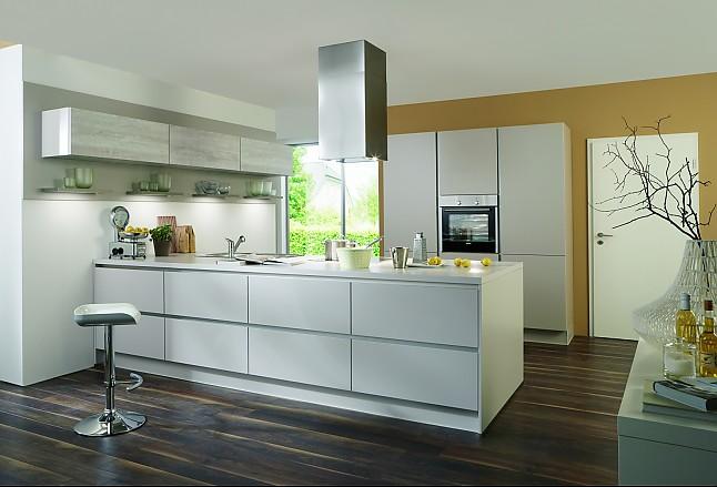 Nobilia-Musterküche Moderne grifflose Küche mit Halbinsel ... | {Moderne küchen mit halbinsel 0}
