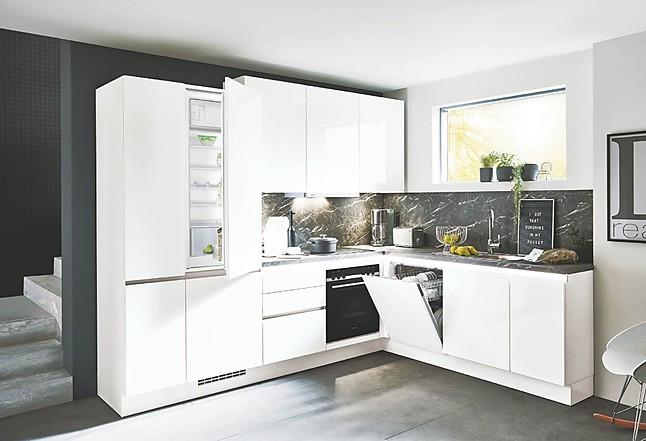 moderne kleine L Küche in Weiß