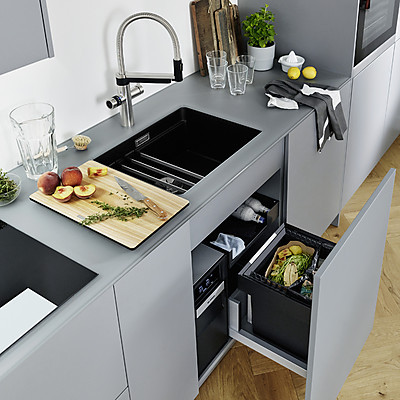BLANCO UNIT mit Soda-Armatur, Küchenspüle und Abfallsystem