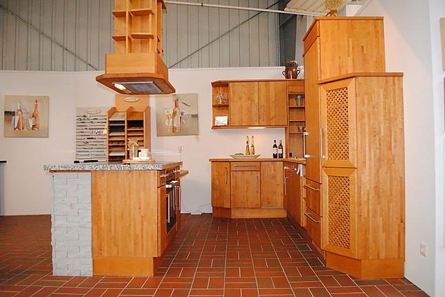 Holzküchen erle  Kornmüller-Musterküche vollmassive Küche in Erle mit Granitplatte ...
