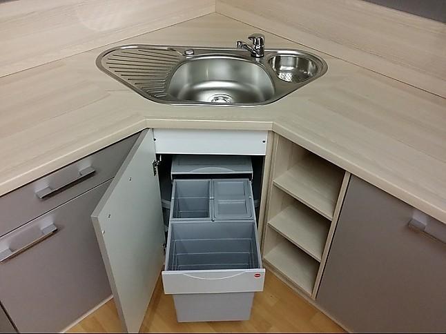 nobilia musterk che raffinierte l k che mit ecksp le in holzoptik mit fangograu inkl. Black Bedroom Furniture Sets. Home Design Ideas