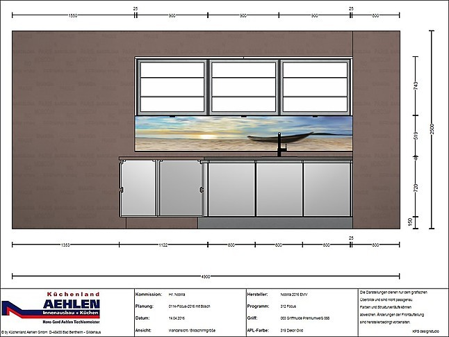 nobilia musterk che line n focus mit bosch grifflose. Black Bedroom Furniture Sets. Home Design Ideas