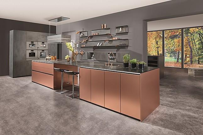 beckermann musterk che metallic kupfer silvia beton dunkel ausstellungsk che in trossingen. Black Bedroom Furniture Sets. Home Design Ideas