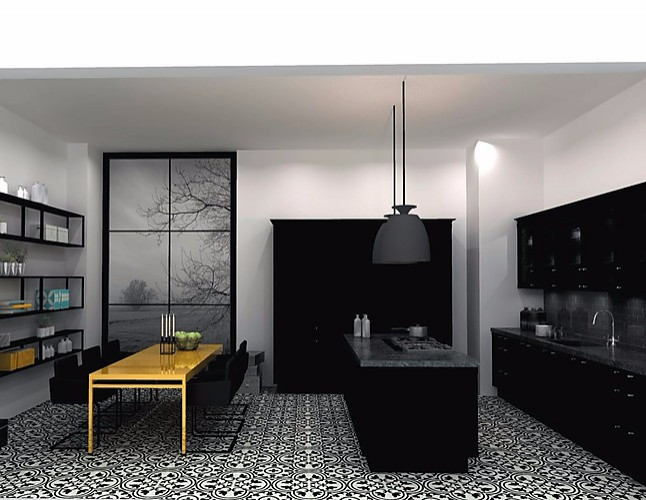nolte musterk che landhaus k che inselk che lack schwarz ausstellungsk che in berlin von. Black Bedroom Furniture Sets. Home Design Ideas