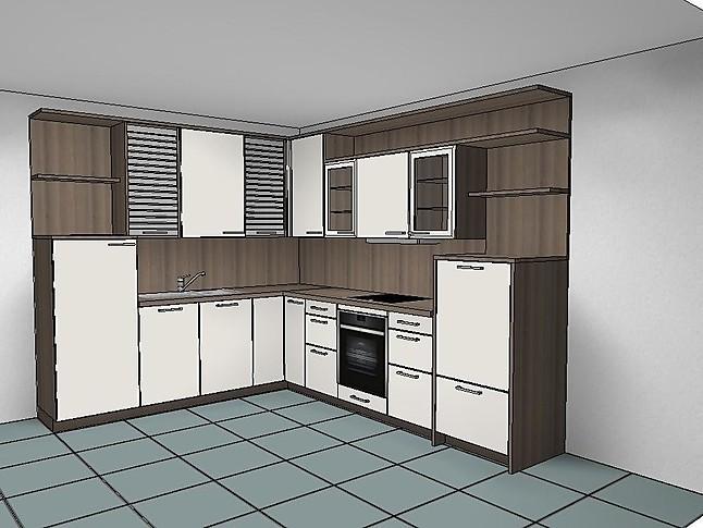 rotpunkt musterk che l k che mit regalen und rollladenschr nken ausstellungsk che in. Black Bedroom Furniture Sets. Home Design Ideas