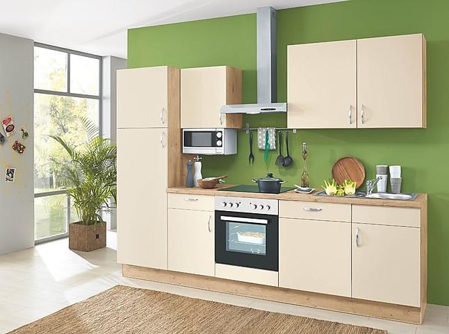 kleine Küche mit Lack Fronten und Elementen in Holzoptik