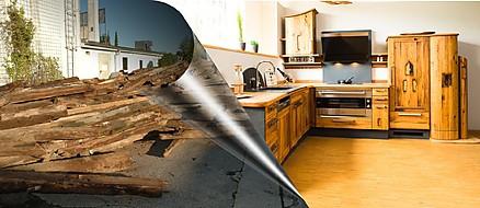 Transformation - Altholzbalken werden zur Traumküche