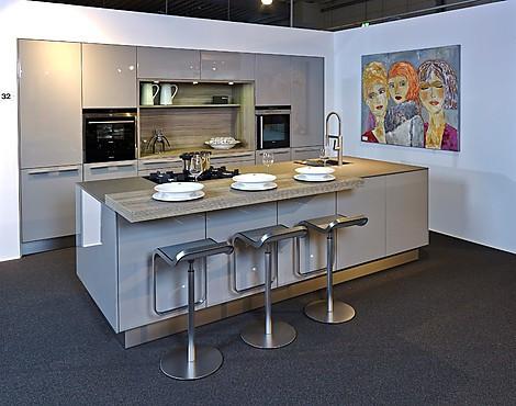 Inselküche Mit Sitzgelegenheit   NX501 In Steingrau Hochglanz (koje 32 KL)