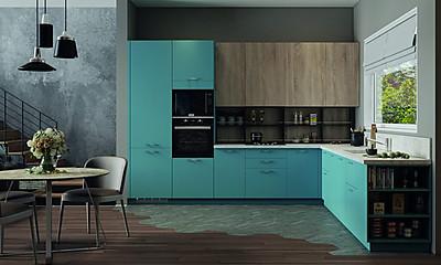 L-Küche in Blau und Holzdekor