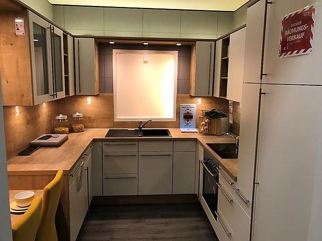Xeno Küchen-Musterküche Lack Magnolie matt mit Stangengriff und ...