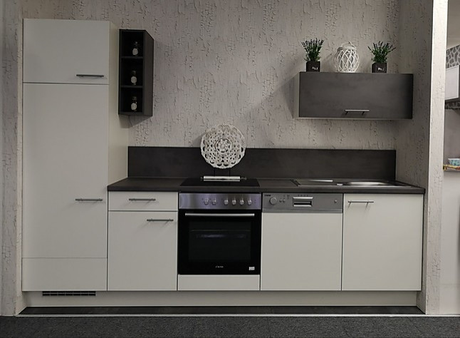 Nobilia musterküche küchenzeile in weiß inkl e geräte ca cm