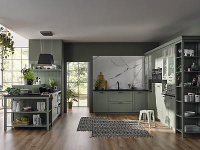 Landhausküche in Salbeigrün von BAUFORMAT Küchen