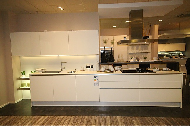 Hausmarke-Musterküche Moderne grifflose Küche Weiß Hochglanz ...
